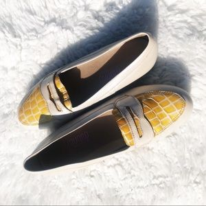 Munro American Carrie Yellow Croc Penny Loafer